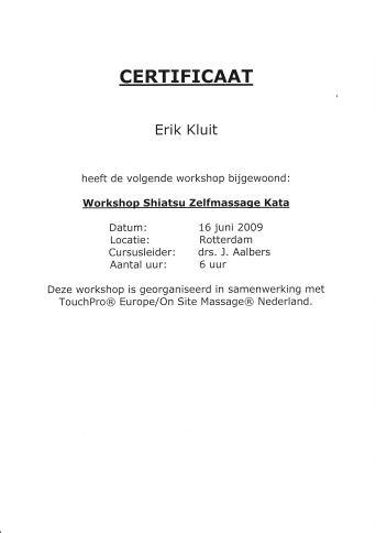 Certificaat Shiatsu Zelfmassage